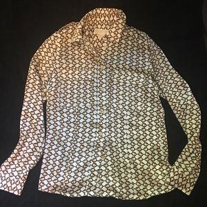 Michael Kors chain scarf print button up blouse